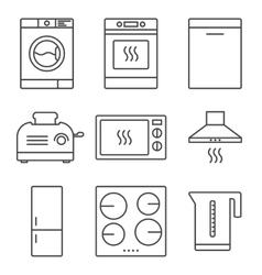Kitchen appliance icons vector