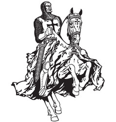 Knight of templar black white vector