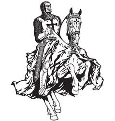 Knight of templar black white vector