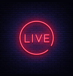 Live neon sign live stream design template vector