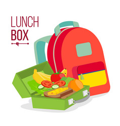 Lunch box and bag healthy school lunch vector