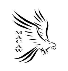 Macaw parrot logo line art eps 10 vector
