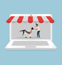 man and woman sitting in shopping cart with vector image