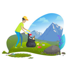 Man collecting trash in mountains image vector