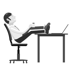 Manager sits on chair and feet on table icon vector