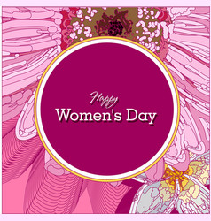 March 8 pink floral greeting card international vector