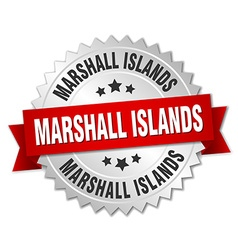 Marshall Islands round silver badge with red vector