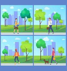 men going in city park outdoor activity vector image