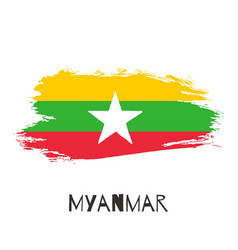 myanmar watercolor national country flag icon vector image