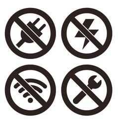no plug no lightning no wifi and no repair sign vector image