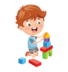 Of kid playing with building b vector