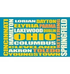 Ohio state cities list vector image vector image
