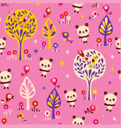 panda bears and birds in forest seamless pattern vector image