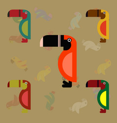 Parrots set kakadu birds collection vector