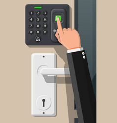 Password and fingerprint security device with hand vector