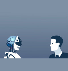 People and robots modern human and artificial vector