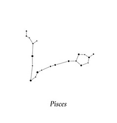 Pisces sign stars map zodiac constellation vector