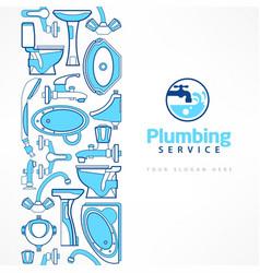 Plumbing banner with logo vector