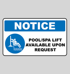 Pool and spa lift for disabled sign disability vector