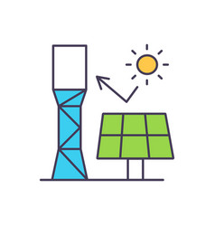 rays sun hitting solar panel rgb color icon vector image