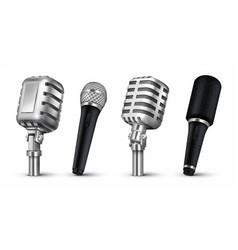 realistic microphones 3d studio and scene audio vector image