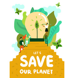 Saving of planet poster vector