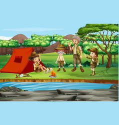 scene with kids camping river vector image