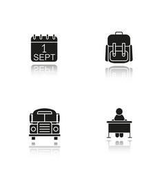 School drop shadow black glyph icons set vector