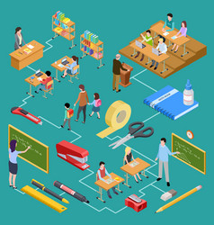 school education teachers and students isometric vector image