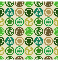 seamless pattern with ecology signs vector image