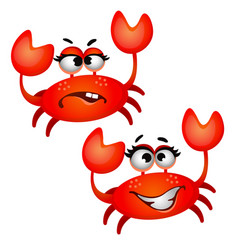 set of funny laughing red crab isolated on white vector image