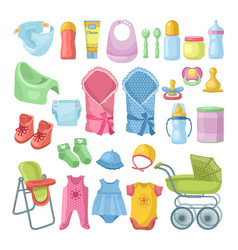 Set of newborn stuff different vector