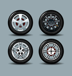 set of wheels with disks and rubber vector image