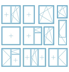set plastic window frame symbol vector image