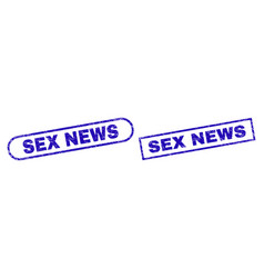 Sex news blue rectangle stamp with unclean texture vector