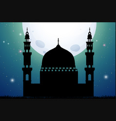 silhouette mosque on fullmoon night vector image
