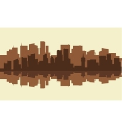Silhouette of city with brown color vector