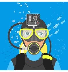 Skuba diver shooting video underwater vector