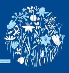 spring flowers round design scandinavian style vector image