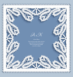 Square frame with bobbin lace border decoration vector