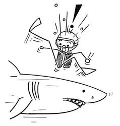 Stick man cartoon of scuba diver meet large shark vector