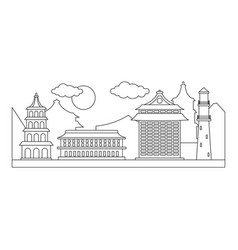 taipei city icon outline style vector image