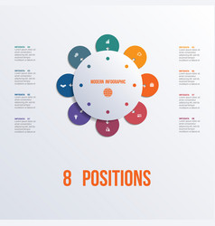 template flower colorful infographics 8 positions vector image
