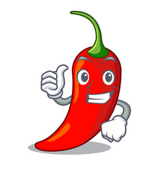thumbs up character red chili pepper for seasoning vector image