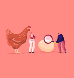 Tiny male female characters at huge hen vector
