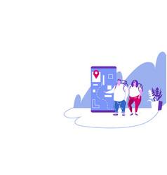 tourists couple using mobile navigation app vector image