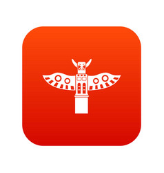 Traditional religious totem pole icon digital red vector