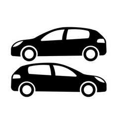 Two black car silhouettes on a white background vector