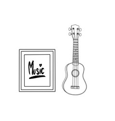 ukulele realistic cartoon drawing musical vector image