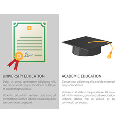 University academic education poster with licence vector